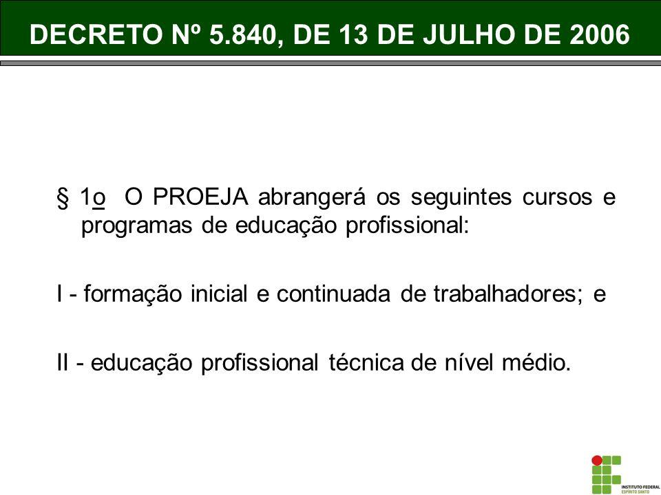§ 1o O PROEJA abrangerá os seguintes cursos e programas de educação profissional: I - formação inicial e continuada de trabalhadores; e II - educação