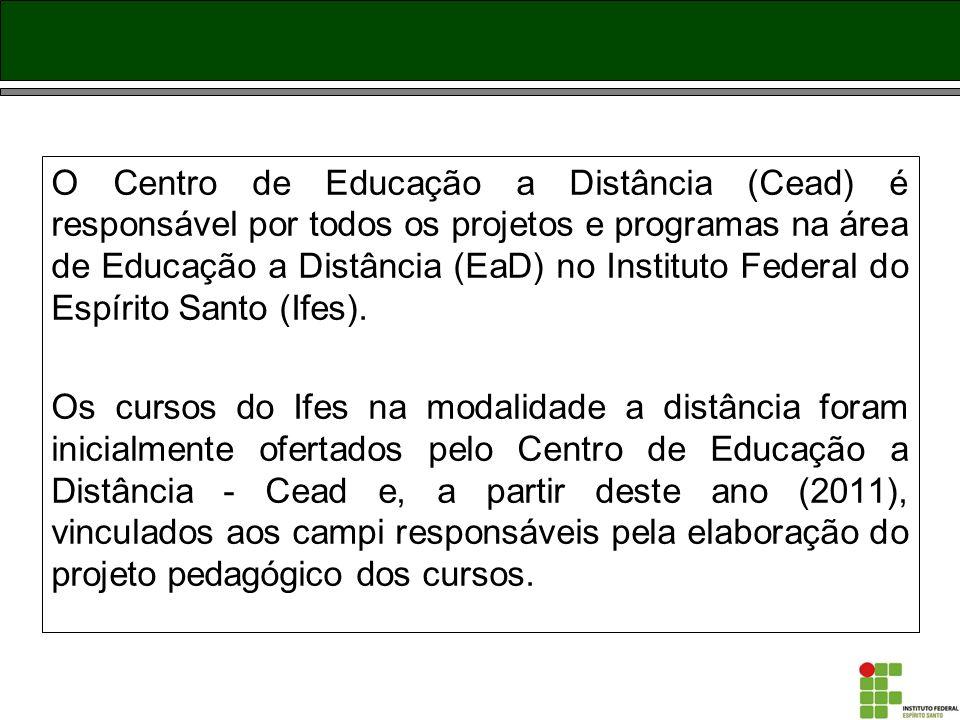 O Centro de Educação a Distância (Cead) é responsável por todos os projetos e programas na área de Educação a Distância (EaD) no Instituto Federal do