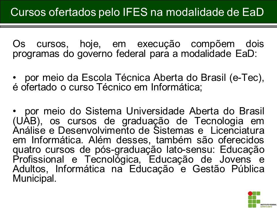 Os cursos, hoje, em execução compõem dois programas do governo federal para a modalidade EaD: por meio da Escola Técnica Aberta do Brasil (e-Tec), é o