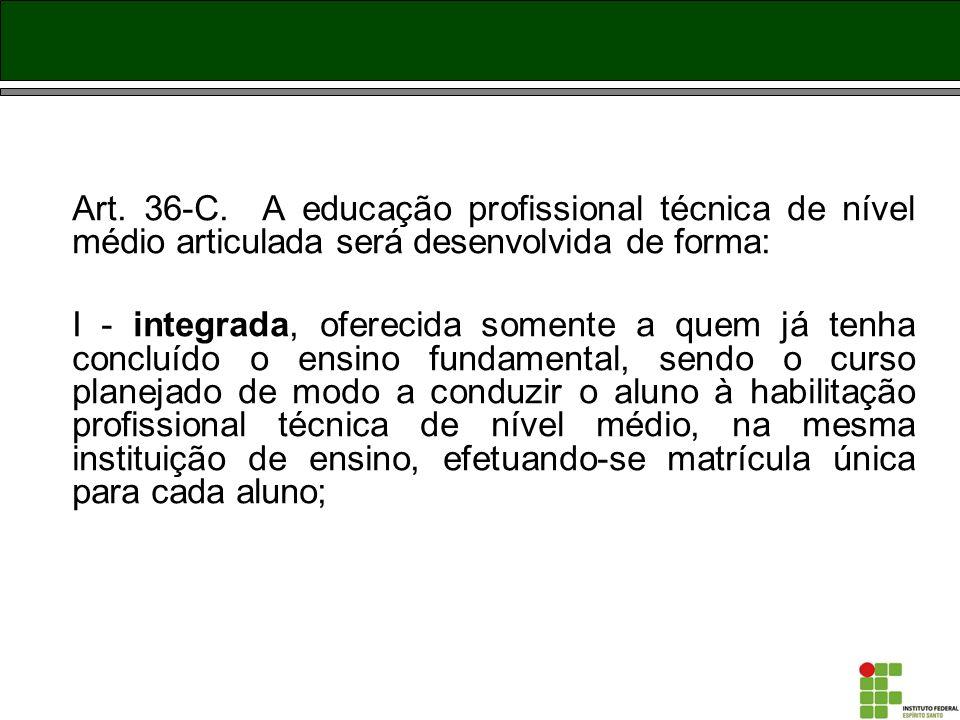 Art. 36-C. A educação profissional técnica de nível médio articulada será desenvolvida de forma: I - integrada, oferecida somente a quem já tenha conc