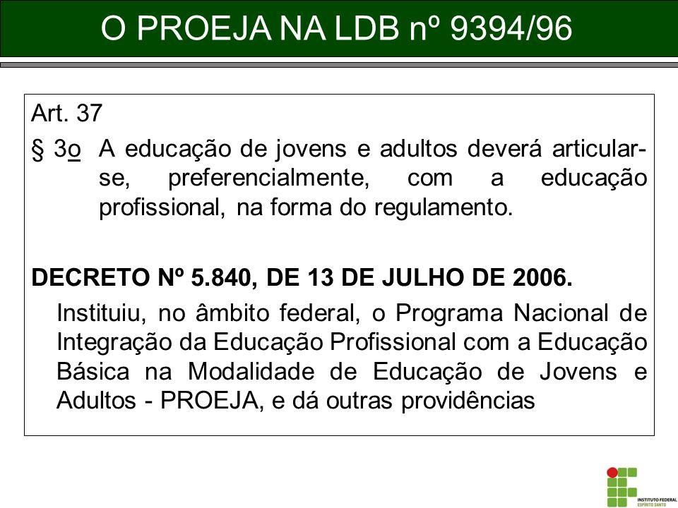 Art. 37 § 3o A educação de jovens e adultos deverá articular- se, preferencialmente, com a educação profissional, na forma do regulamento. DECRETO Nº