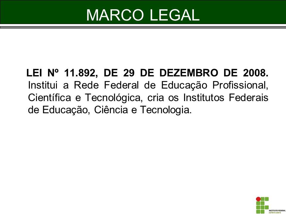MARCO LEGAL LEI Nº 11.892, DE 29 DE DEZEMBRO DE 2008. Institui a Rede Federal de Educação Profissional, Científica e Tecnológica, cria os Institutos F