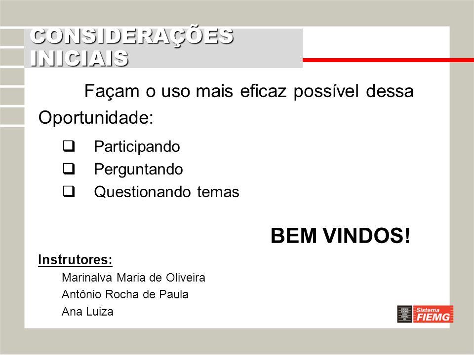 Façam o uso mais eficaz possível dessa Oportunidade: Participando Perguntando Questionando temas BEM VINDOS! Instrutores: Marinalva Maria de Oliveira