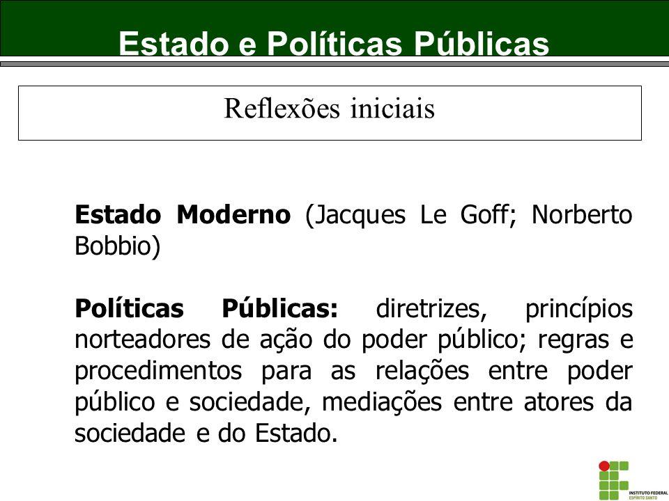 Estado e Políticas Públicas Estado Moderno (Jacques Le Goff; Norberto Bobbio) Políticas Públicas: diretrizes, princípios norteadores de ação do poder