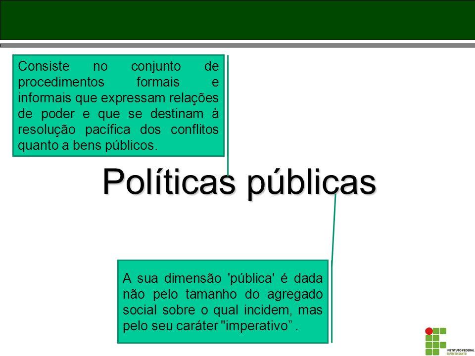 Políticas Públicas - conceito Implica considerar os recursos de poder que operam na sua definição e que têm nas instituições do Estado, sobretudo, na máquina governamental, o seu principal referente.