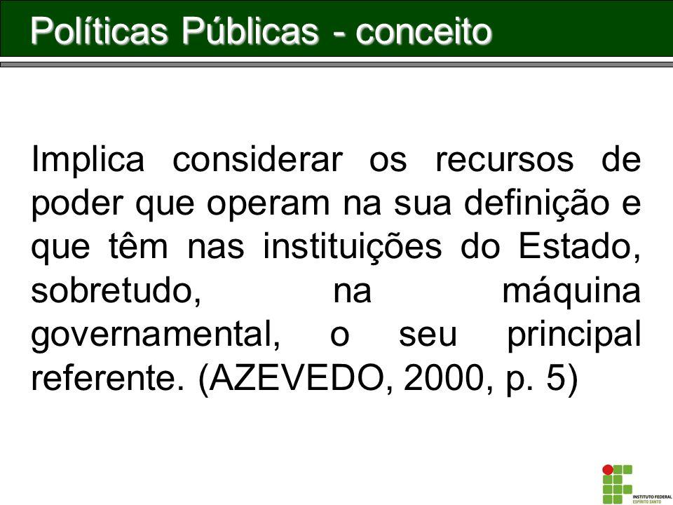 Políticas Públicas - conceito Implica considerar os recursos de poder que operam na sua definição e que têm nas instituições do Estado, sobretudo, na