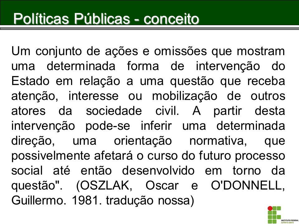Políticas Públicas - conceito Um conjunto de ações e omissões que mostram uma determinada forma de intervenção do Estado em relação a uma questão que