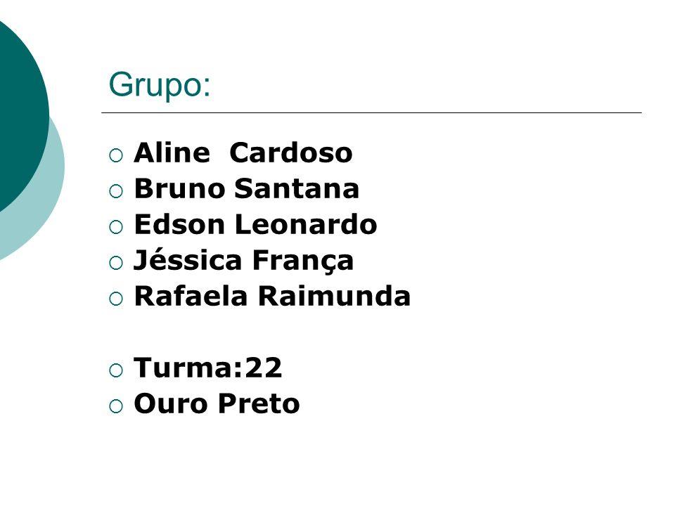 Grupo: Aline Cardoso Bruno Santana Edson Leonardo Jéssica França Rafaela Raimunda Turma:22 Ouro Preto
