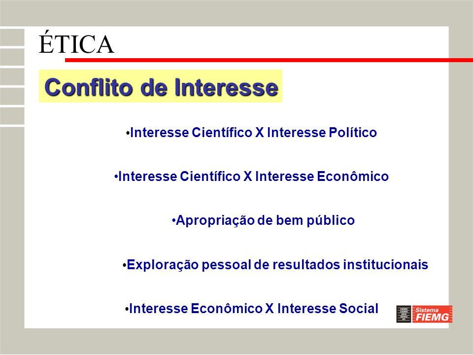 Conflito de Interesse Interesse Científico X Interesse Político Interesse Científico X Interesse Econômico Apropriação de bem público Exploração pesso
