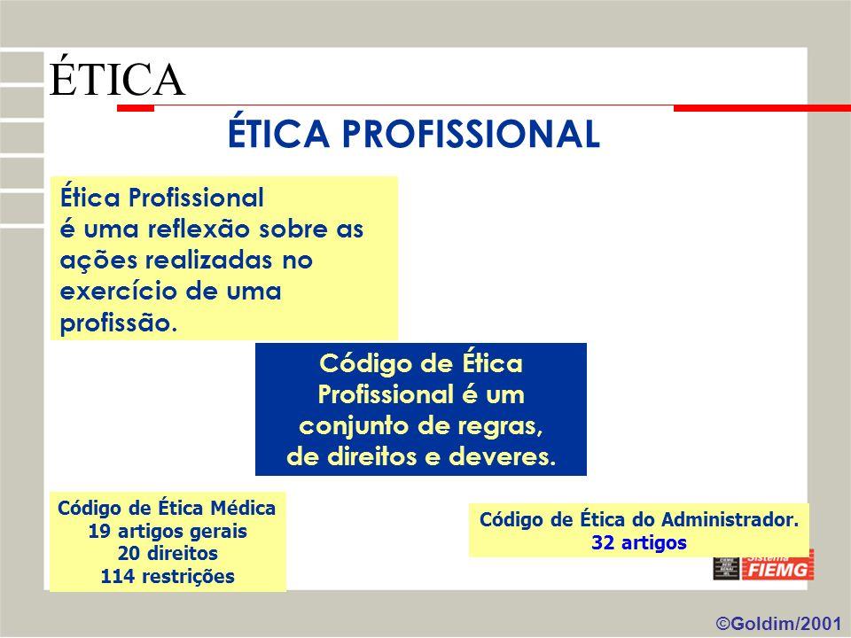 Ética Profissional é uma reflexão sobre as ações realizadas no exercício de uma profissão. Código de Ética Profissional é um conjunto de regras, de di