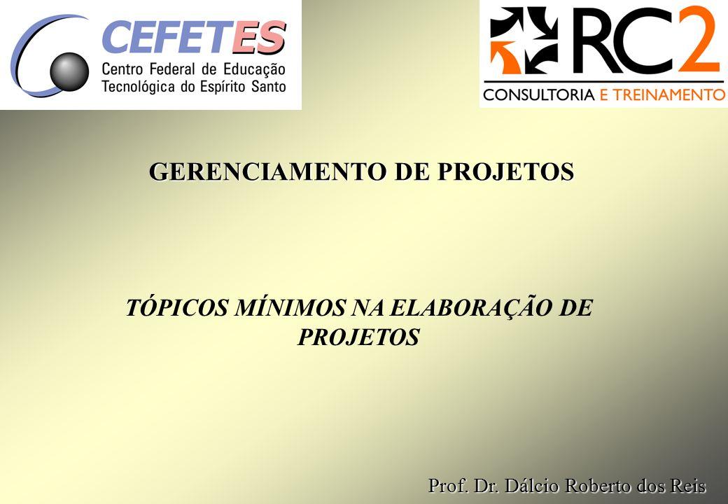 TÓPICOS MÍNIMOS NA ELABORAÇÃO DE PROJETOS GERENCIAMENTO DE PROJETOS Prof.