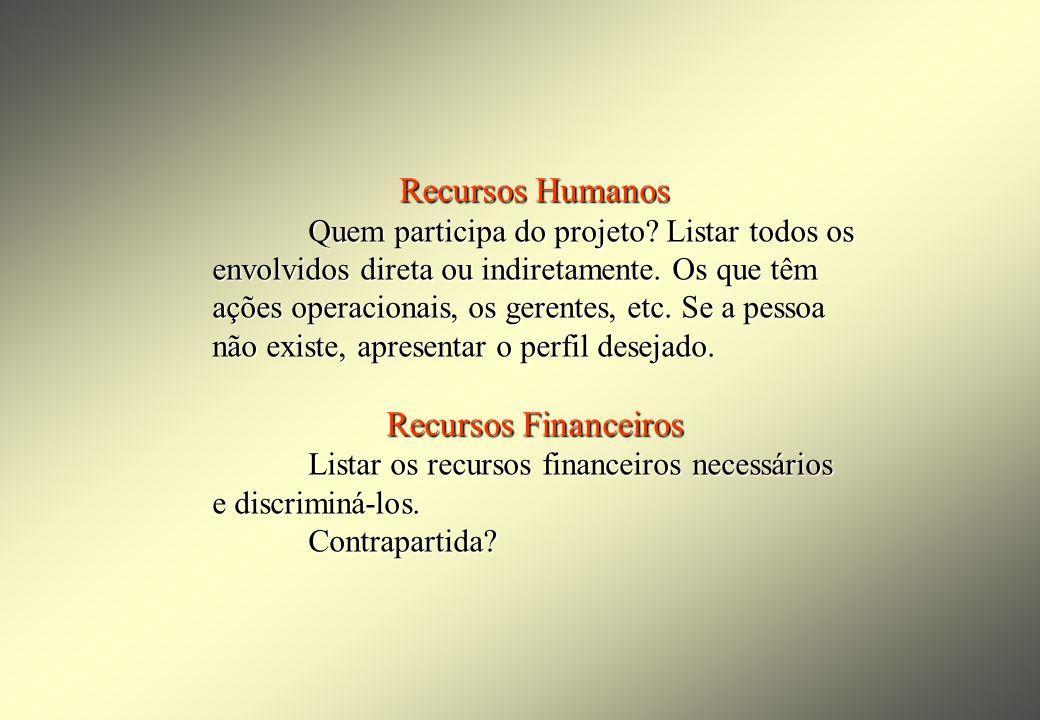 Recursos Humanos Quem participa do projeto. Listar todos os envolvidos direta ou indiretamente.