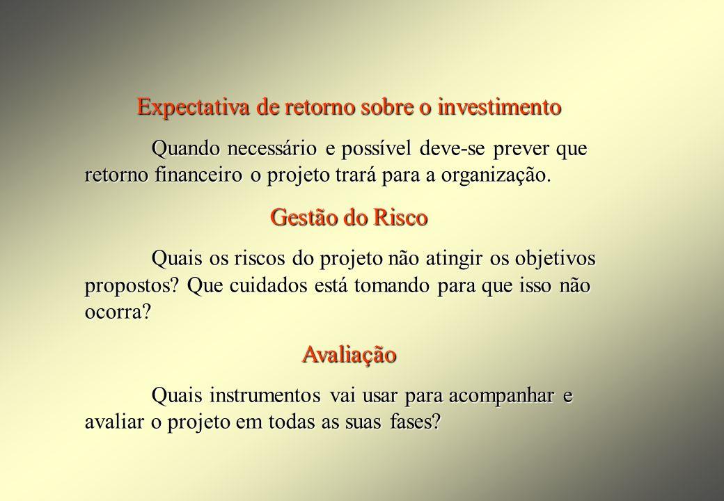 Expectativa de retorno sobre o investimento Quando necessário e possível deve-se prever que retorno financeiro o projeto trará para a organização.