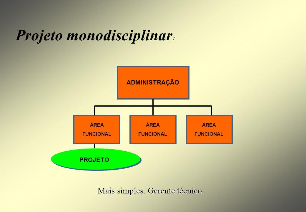 Projeto autônomo: ADMINISTRAÇÃO ÁREA FUNCIONAL ÁREA FUNCIONAL PROJETO Missão extremamente importante. Dedicação integral da equipe. Grande porte. Auto