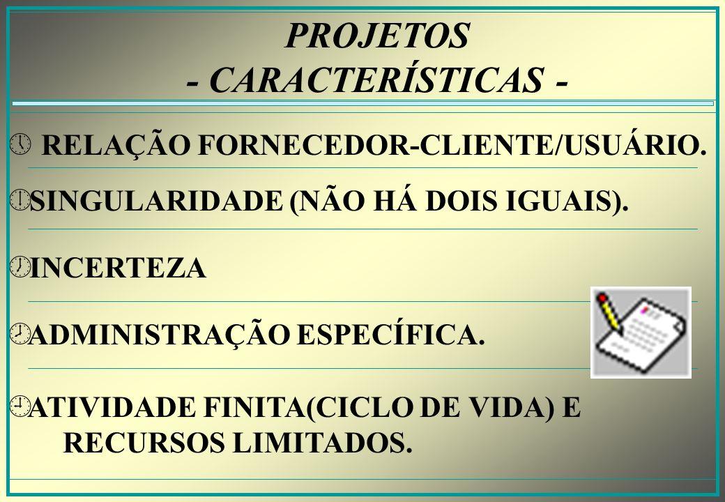 PROJETOS - CARACTERÍSTICAS - » » RELAÇÃO FORNECEDOR-CLIENTE/USUÁRIO.