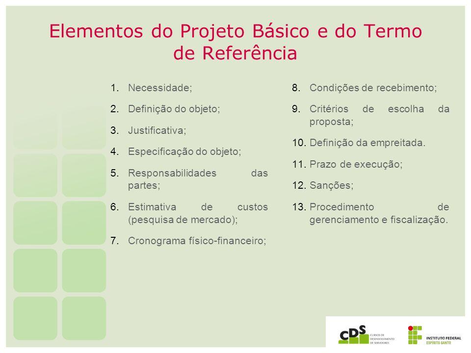Elementos do Projeto Básico e do Termo de Referência 1. Necessidade; 2. Definição do objeto; 3. Justificativa; 4. Especificação do objeto; 5. Responsa