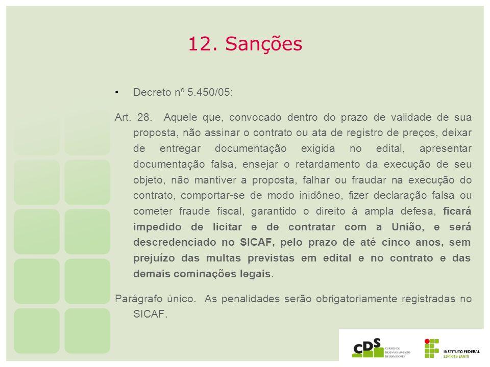 12. Sanções Decreto nº 5.450/05: Art. 28. Aquele que, convocado dentro do prazo de validade de sua proposta, não assinar o contrato ou ata de registro