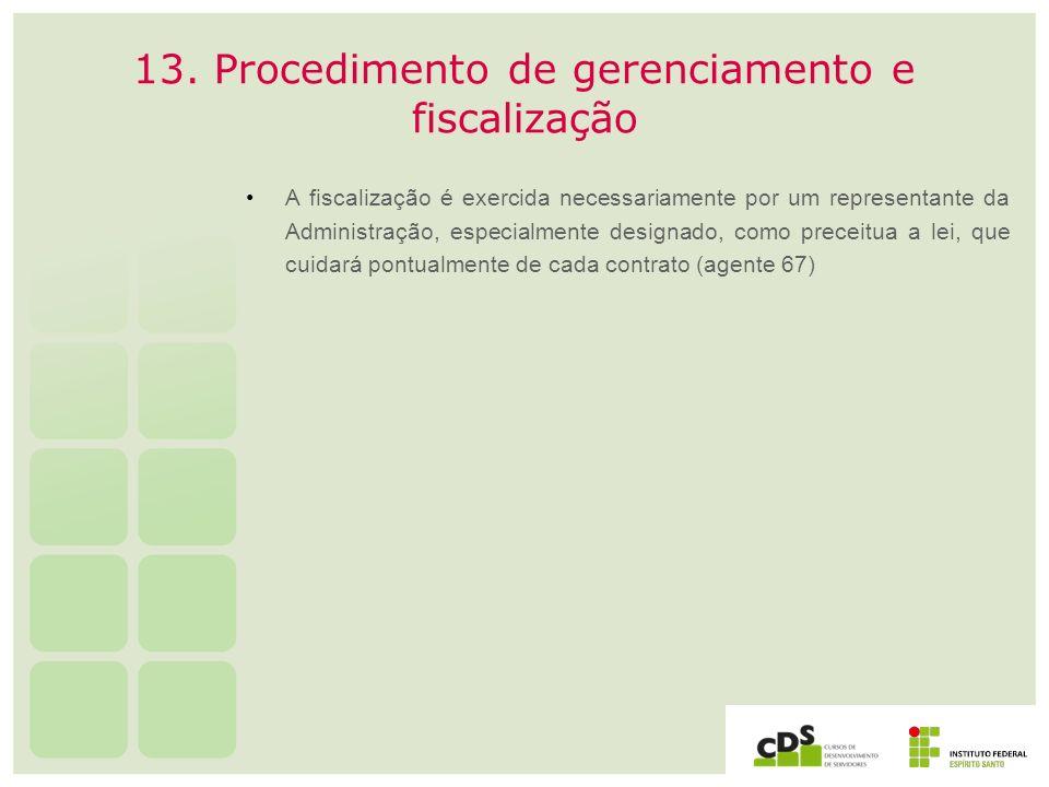 13. Procedimento de gerenciamento e fiscalização A fiscalização é exercida necessariamente por um representante da Administração, especialmente design