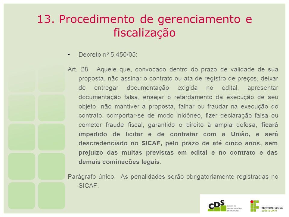 13. Procedimento de gerenciamento e fiscalização Decreto nº 5.450/05: Art. 28. Aquele que, convocado dentro do prazo de validade de sua proposta, não