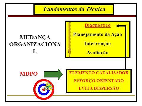 Fundamentos da Técnica MUDANÇA ORGANIZACIONA L Diagnóstico Planejamento da Ação Intervenção Avaliação MDPO ELEMENTO CATALISADOR ESFORÇO ORIENTADO EVITA DISPERSÃO