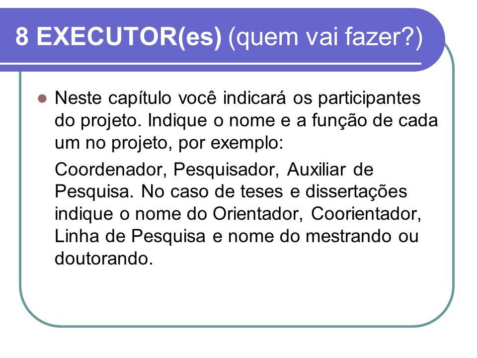 8 EXECUTOR(es) (quem vai fazer?) Neste capítulo você indicará os participantes do projeto. Indique o nome e a função de cada um no projeto, por exempl