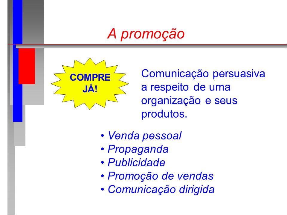 A promoção Comunicação persuasiva a respeito de uma organização e seus produtos. Venda pessoal Propaganda Publicidade Promoção de vendas Comunicação d