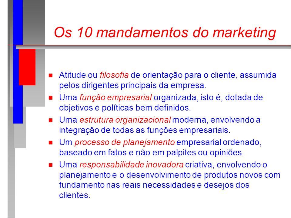 Os 10 mandamentos do marketing n Atitude ou filosofia de orientação para o cliente, assumida pelos dirigentes principais da empresa. n Uma função empr