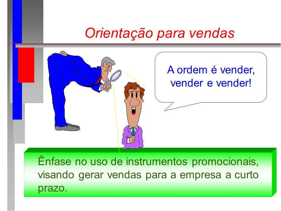 Orientação para vendas A ordem é vender, vender e vender! Ênfase no uso de instrumentos promocionais, visando gerar vendas para a empresa a curto praz