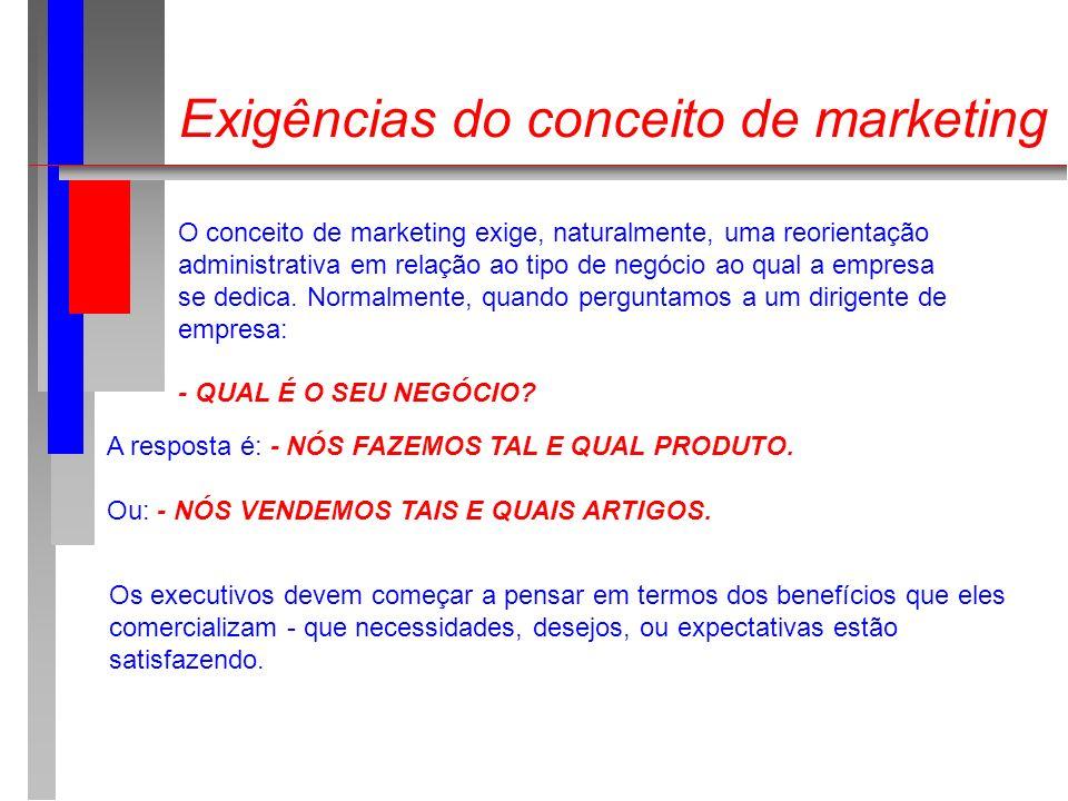 Exigências do conceito de marketing O conceito de marketing exige, naturalmente, uma reorientação administrativa em relação ao tipo de negócio ao qual