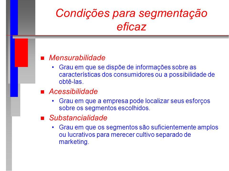 Condições para segmentação eficaz n Mensurabilidade Grau em que se dispõe de informações sobre as características dos consumidores ou a possibilidade