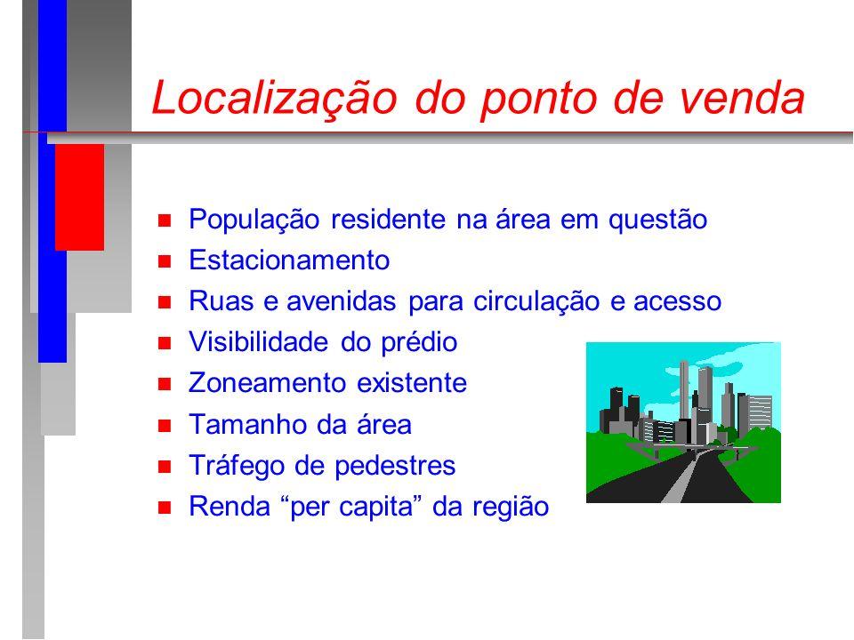 Localização do ponto de venda n População residente na área em questão n Estacionamento n Ruas e avenidas para circulação e acesso n Visibilidade do p