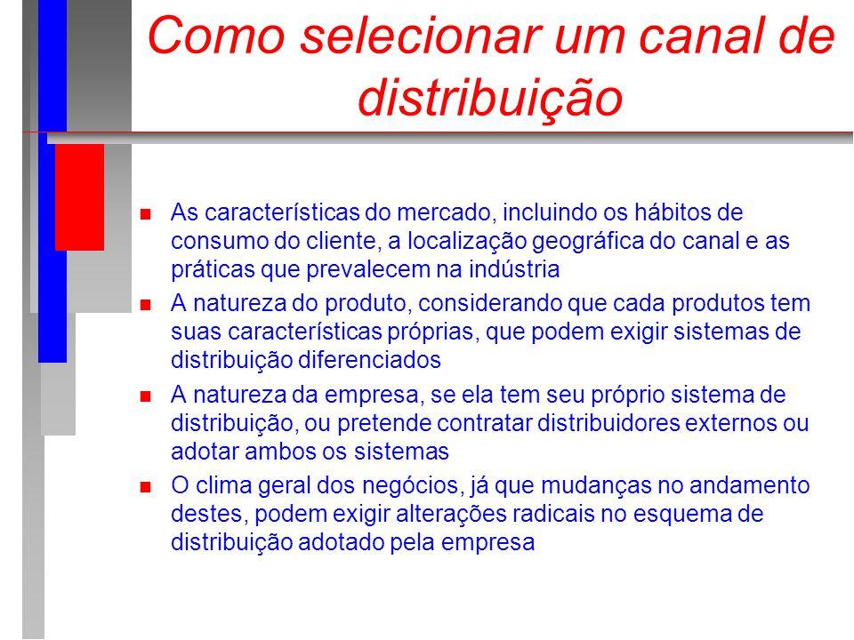 Como selecionar um canal de distribuição As características do mercado, incluindo os hábitos de consumo do cliente, a localização geográfica do canal