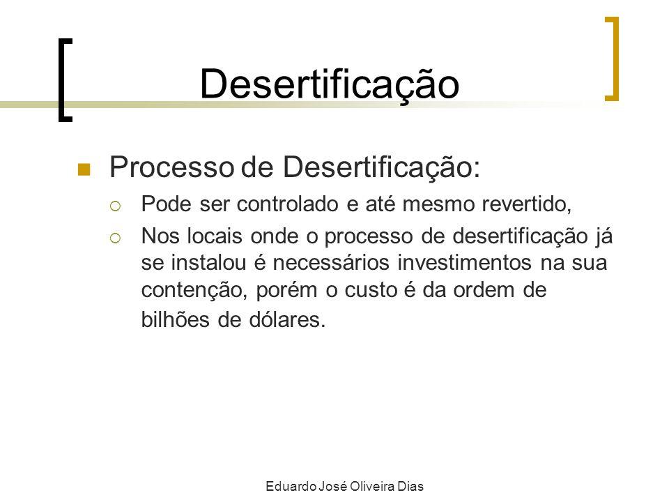 Desertificação Processo de Desertificação: Pode ser controlado e até mesmo revertido, Nos locais onde o processo de desertificação já se instalou é necessários investimentos na sua contenção, porém o custo é da ordem de bilhões de dólares.