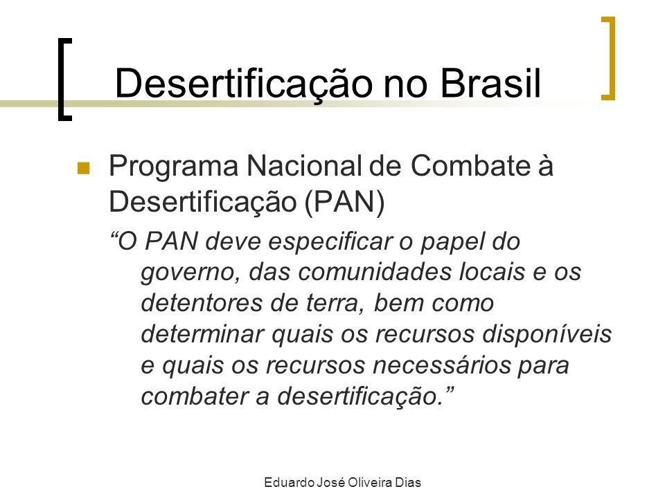 Desertificação no Brasil Programa Nacional de Combate à Desertificação (PAN) O PAN deve especificar o papel do governo, das comunidades locais e os detentores de terra, bem como determinar quais os recursos disponíveis e quais os recursos necessários para combater a desertificação.