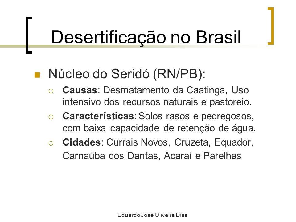 Desertificação no Brasil Núcleo do Seridó (RN/PB): Causas: Desmatamento da Caatinga, Uso intensivo dos recursos naturais e pastoreio. Características: