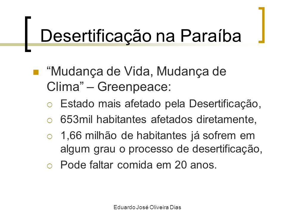 Desertificação na Paraíba Mudança de Vida, Mudança de Clima – Greenpeace: Estado mais afetado pela Desertificação, 653mil habitantes afetados diretame