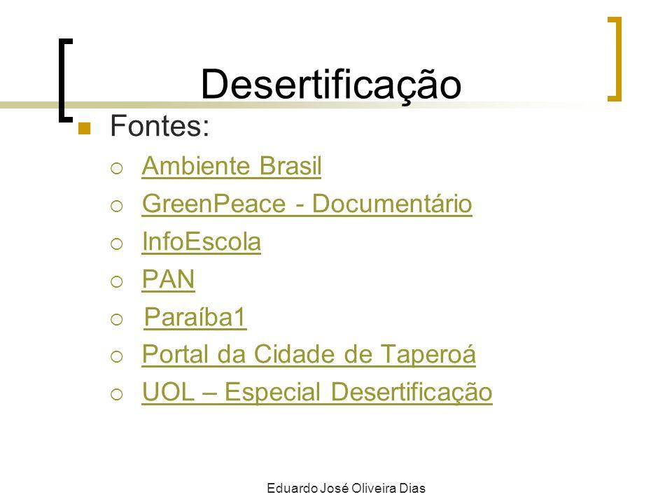 Desertificação Fontes: Ambiente Brasil GreenPeace - Documentário InfoEscola PAN Paraíba1 Portal da Cidade de Taperoá UOL – Especial Desertificação Eduardo José Oliveira Dias