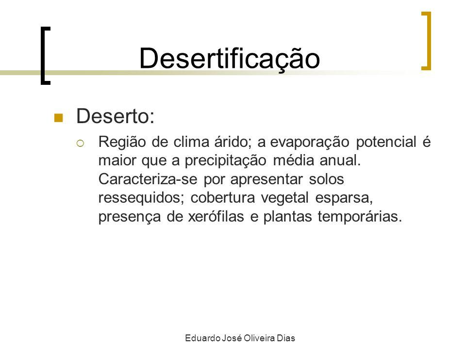 Desertificação Deserto: Região de clima árido; a evaporação potencial é maior que a precipitação média anual. Caracteriza-se por apresentar solos ress