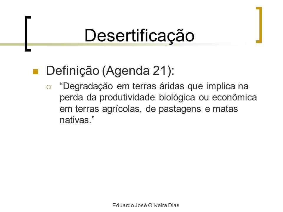 Desertificação Definição (Agenda 21): Degradação em terras áridas que implica na perda da produtividade biológica ou econômica em terras agrícolas, de pastagens e matas nativas.