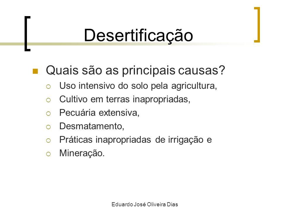 Desertificação Quais são as principais causas? Uso intensivo do solo pela agricultura, Cultivo em terras inapropriadas, Pecuária extensiva, Desmatamen