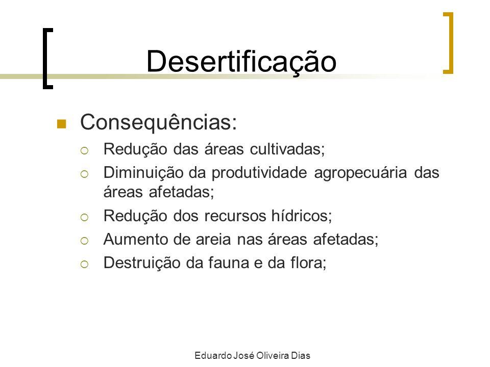 Desertificação Consequências: Redução das áreas cultivadas; Diminuição da produtividade agropecuária das áreas afetadas; Redução dos recursos hídricos; Aumento de areia nas áreas afetadas; Destruição da fauna e da flora; Eduardo José Oliveira Dias
