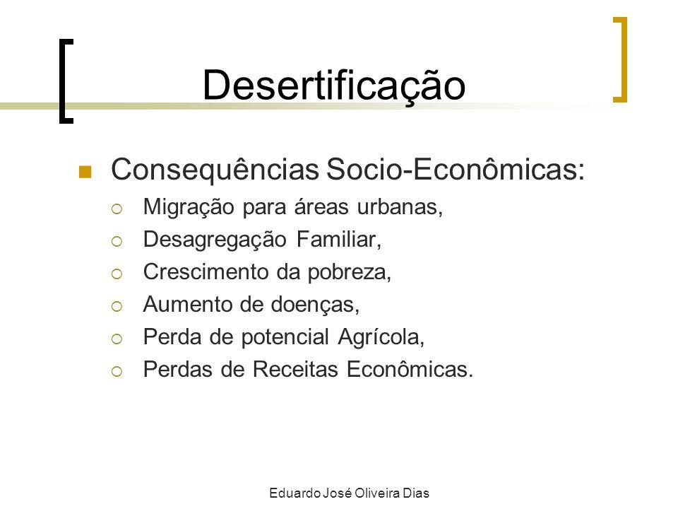 Desertificação Consequências Socio-Econômicas: Migração para áreas urbanas, Desagregação Familiar, Crescimento da pobreza, Aumento de doenças, Perda de potencial Agrícola, Perdas de Receitas Econômicas.