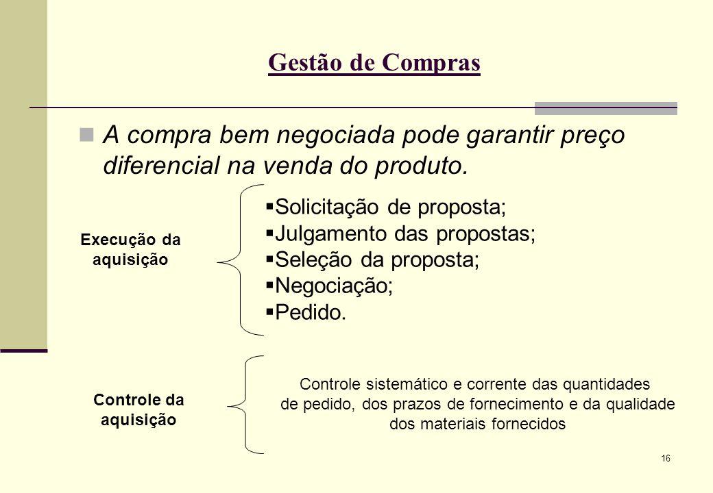 16 Gestão de Compras A compra bem negociada pode garantir preço diferencial na venda do produto.