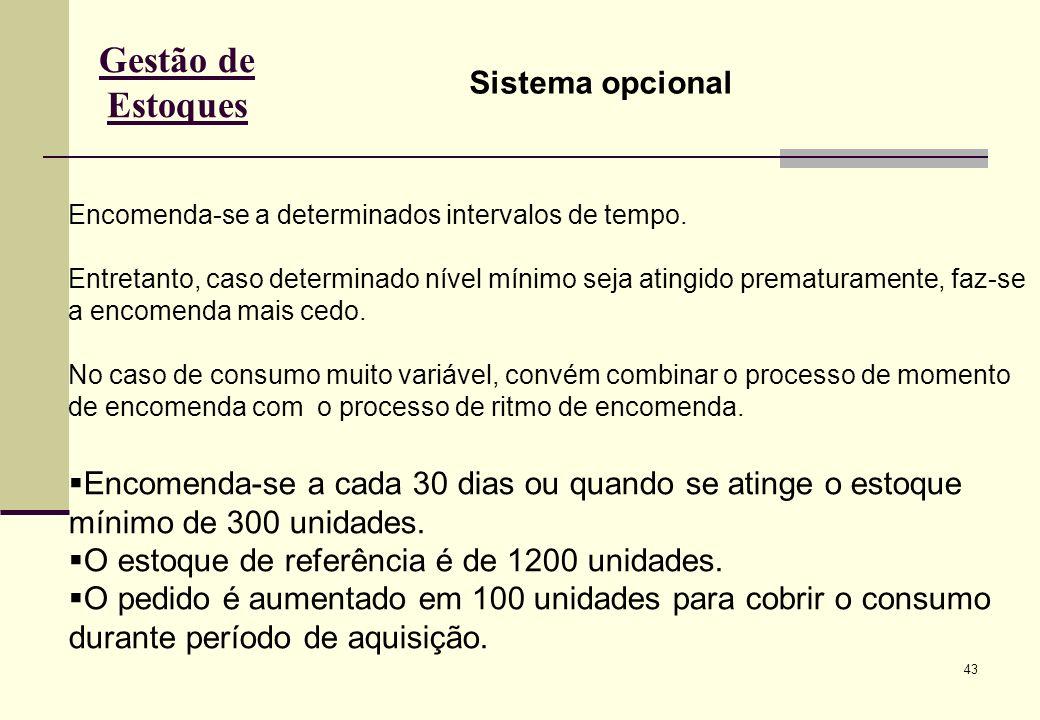 43 Gestão de Estoques Sistema opcional Encomenda-se a determinados intervalos de tempo.