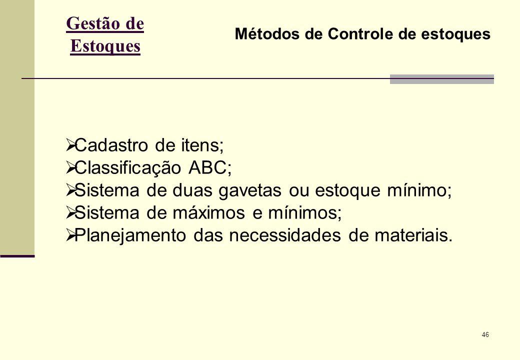 46 Gestão de Estoques Métodos de Controle de estoques Cadastro de itens; Classificação ABC; Sistema de duas gavetas ou estoque mínimo; Sistema de máximos e mínimos; Planejamento das necessidades de materiais.