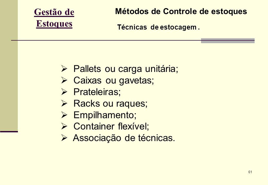 61 Gestão de Estoques Métodos de Controle de estoques Técnicas de estocagem.