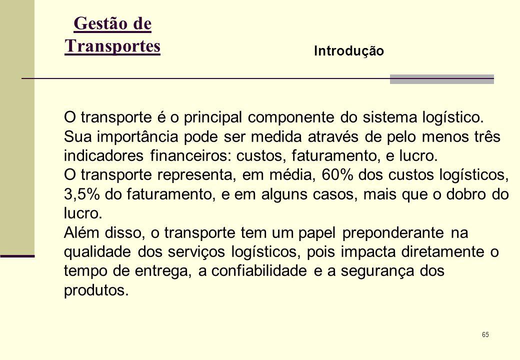 65 Gestão de Transportes Introdução O transporte é o principal componente do sistema logístico.
