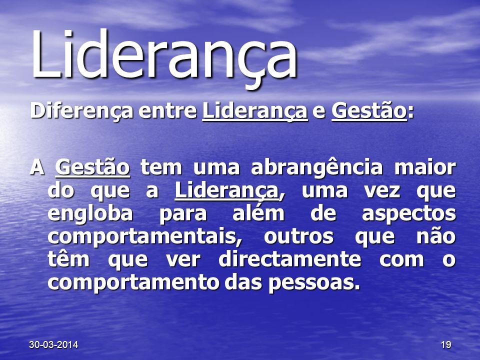 30-03-201419 Liderança Diferença entre Liderança e Gestão: A Gestão tem uma abrangência maior do que a Liderança, uma vez que engloba para além de asp
