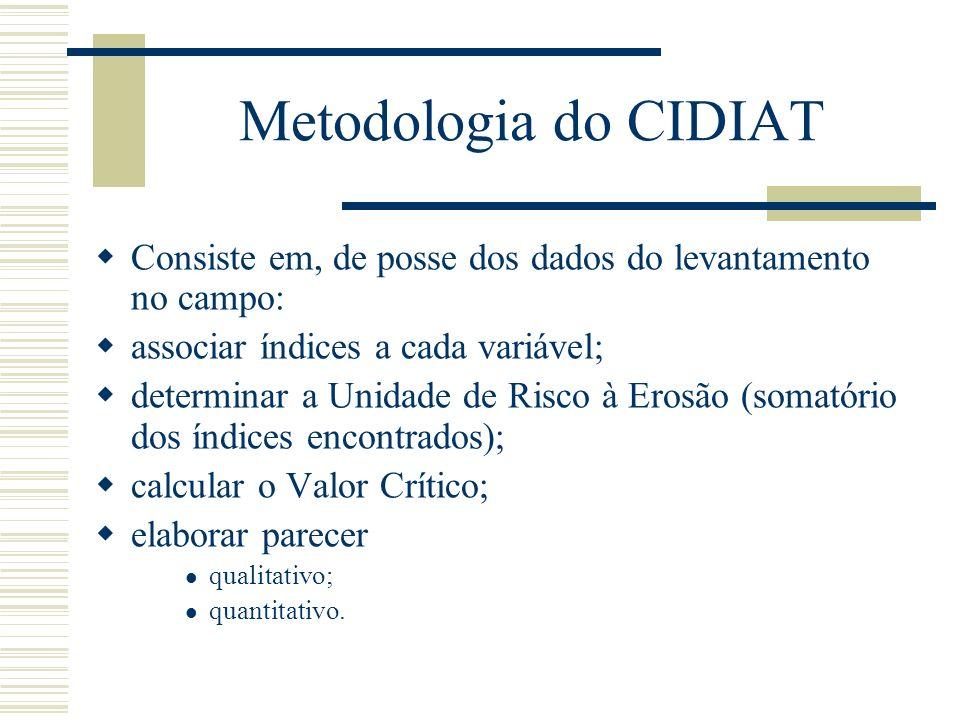 Metodologia do CIDIAT Consiste em, de posse dos dados do levantamento no campo: associar índices a cada variável; determinar a Unidade de Risco à Erosão (somatório dos índices encontrados); calcular o Valor Crítico; elaborar parecer qualitativo; quantitativo.