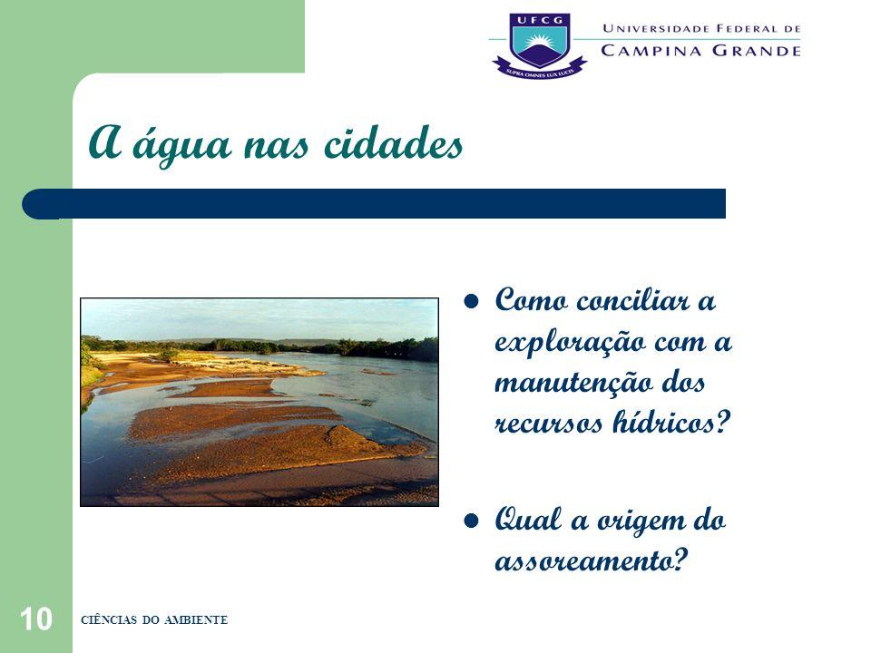 10 A água nas cidades Como conciliar a exploração com a manutenção dos recursos hídricos? Qual a origem do assoreamento? CIÊNCIAS DO AMBIENTE